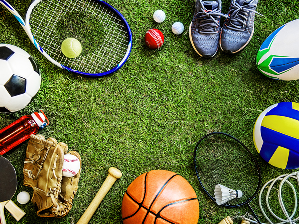 Assorted sporting equipment arranged in a circle